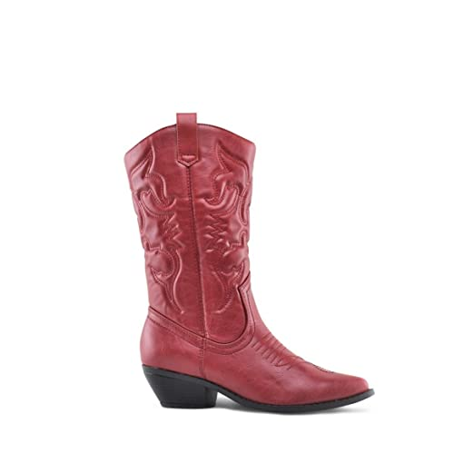 3d5632183f5 SODA Women's Reno Western Cowboy Pointed Toe Knee High Pull On Tabs Boots