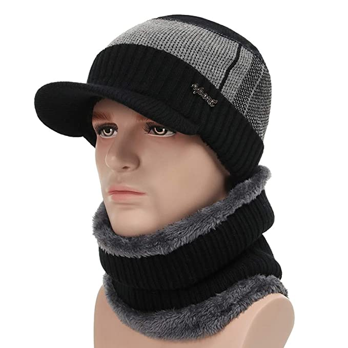 Amazon.com: WEEKEND SHOP Winter Hats for Men Skullies Beanie Hat Winter Cap Men Women Wool Scarf Caps Set Balaclava Mask Gorras Bonnet Knitted Hat Color 3: ...