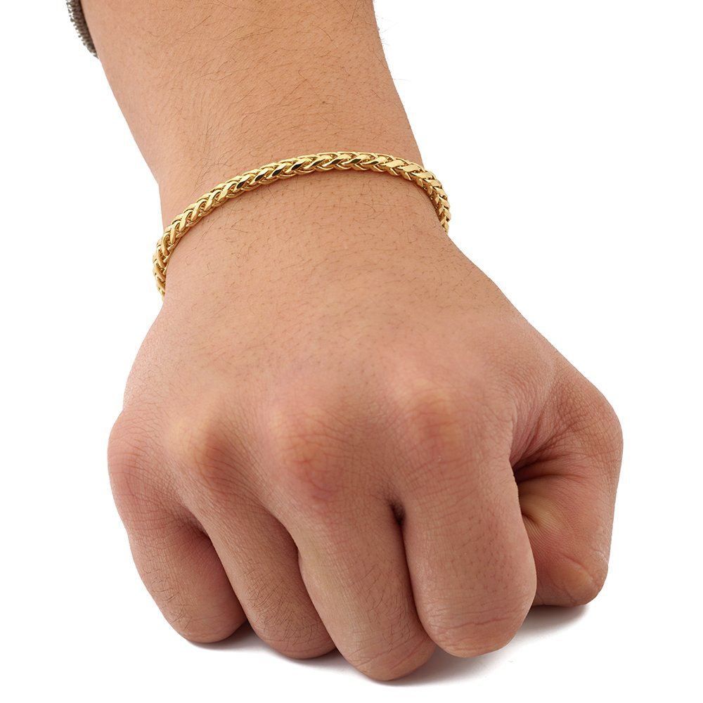 LoveBling 10K Yellow Gold 4mm 7.5'' Wheat, Palm Chain Bracelet with Lobster Lock