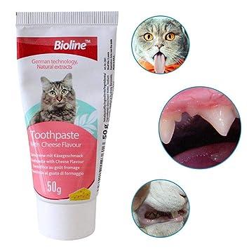 Pasta de Dientes para Gatos Queso con Sabor a 2 PCS Cepillos de Dientes Comestibles para Mascotas Productos de Higiene bucal Eliminar Mal Aliento Dentífrico ...