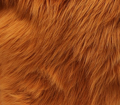 Faux Fur Fabric Long Pile Shaggy Rust / 60