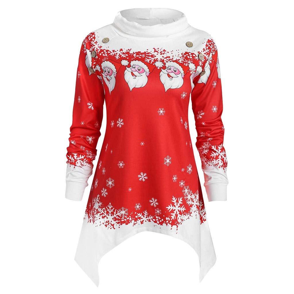Womens Christmas Party Shirts Reindeer Snowflake Print Long Sleeve Elk T-Shirt Tops