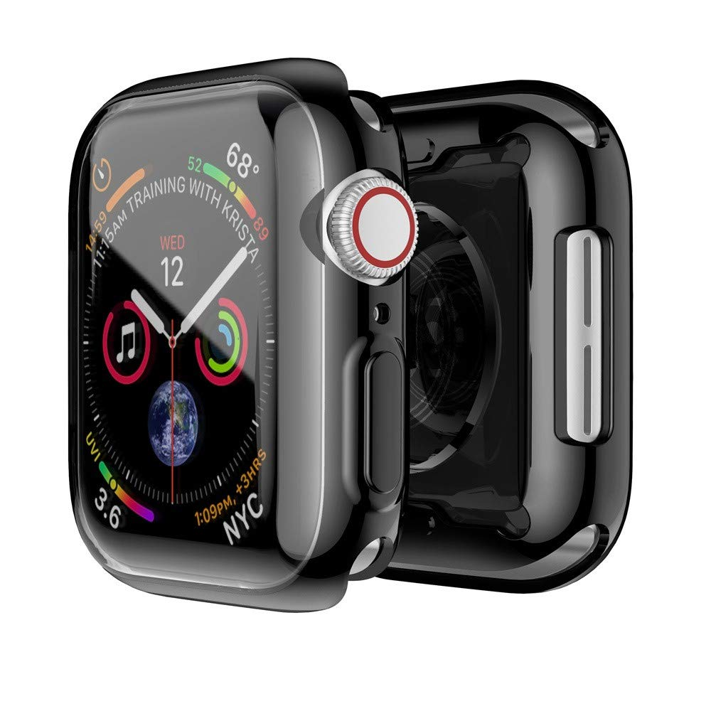 YaidaUltra-Slim Plating TPU Protective Bumper Case Cover for Apple Watch Series 4 40MM (Black)