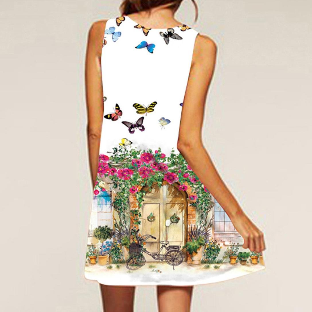 NREALY Women's Vintage Boho Summer Sleeveless Beach Printed Short Mini Dress Vestido(XL, a_White) by NREALY (Image #3)