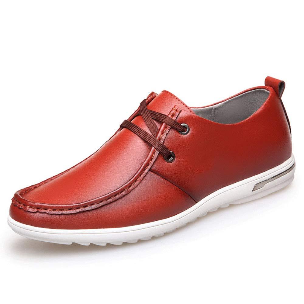 Koyi La Primavera y el Verano nuevos Zapatos de los Hombres Silvestres Transpirable Juventud versión Coreana de los Zapatos de Cordones Ocasionales cómodos Antideslizantes Desgaste 38 EU|Red