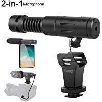 SZMDLX Phone Microphone and Camera Microphone, Super-Cardioid Video Microphone with Earphone Monitor Hole and Deadcat Windscreen for iPhone, Android Smartphone, Canon, Nikon DSLR Camera and Camcorder