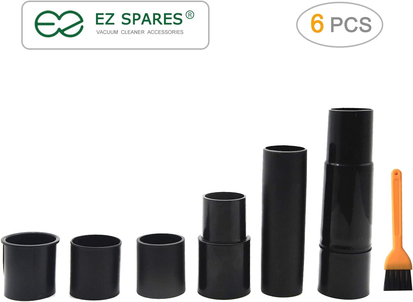 EZ SPARES Universal Vacuum Hose Adapter,Fit 1 3/16 to 1 1/4 to 1 3/4 to 1 1/2 inch Convertor,for All Different Vacuum Reducer Hoses Attachments,Compatible with Common Models-6 Pcs