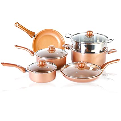 Buy 10 Pcs Copper Coated Nonstick Cookware Set With Detachable Handle And Glass Lid Induction Compatible Ceramic Copper Pots Pans Set Frying Pan Saucepan Steamer Wok And Sauce Pot Online At
