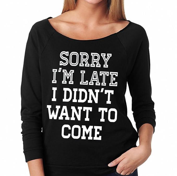 b7f166ec Amazon.com: SignatureTshirts Women's Sorry I'm Late I Didn't Want to Come  Raglan T-Shirt: Clothing