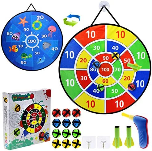Dart Board for Kids,12 Sticky Balls,1 Toy Gun with 2 Dart Bullets Set,Toys Gifts for 3 4 5 6 7 8 9 10 11 12 Year Old Boys and Girls Safe Dartboard Indoor Outdoor Party Sports Games for Kids (26Inches)