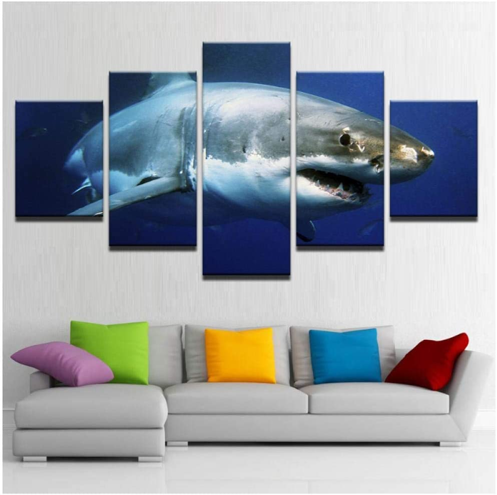 woplmh HD Abstract Canvas Art Painting Living Room Wall Decor 5 Pieces Paul Shark Decoration Picture-30x50 30x70 30x80cm no Frame