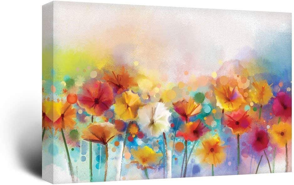 wall26 Canvas Wall Art - Watercolor Style Various Colord Flowers - Giclee Print Gallery Wrap Modern Home Art Ready to Hang - 16x24 inches