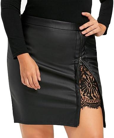DRESS_start Falda de Encaje de Cuero de PU de Las Mujeres de Moda ...