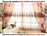 ASide BSide Rod Pocket Top Rose Printed Gorgeous Style Transparent Window Decoration Sheer Curtains For Children Room Sitting Room and Houseroom (1 Panel, W 52 x L 63 inch, Pink)