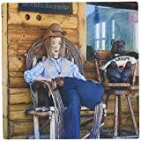 3dRose LLC 8 x 8 x 0.25 Inches Mouse Pad, Mannequin On Old Lodge Porch In Pine Valley, Utah With Land Of Free Home Of The Brave Sign Behind It (mp_48277_1)