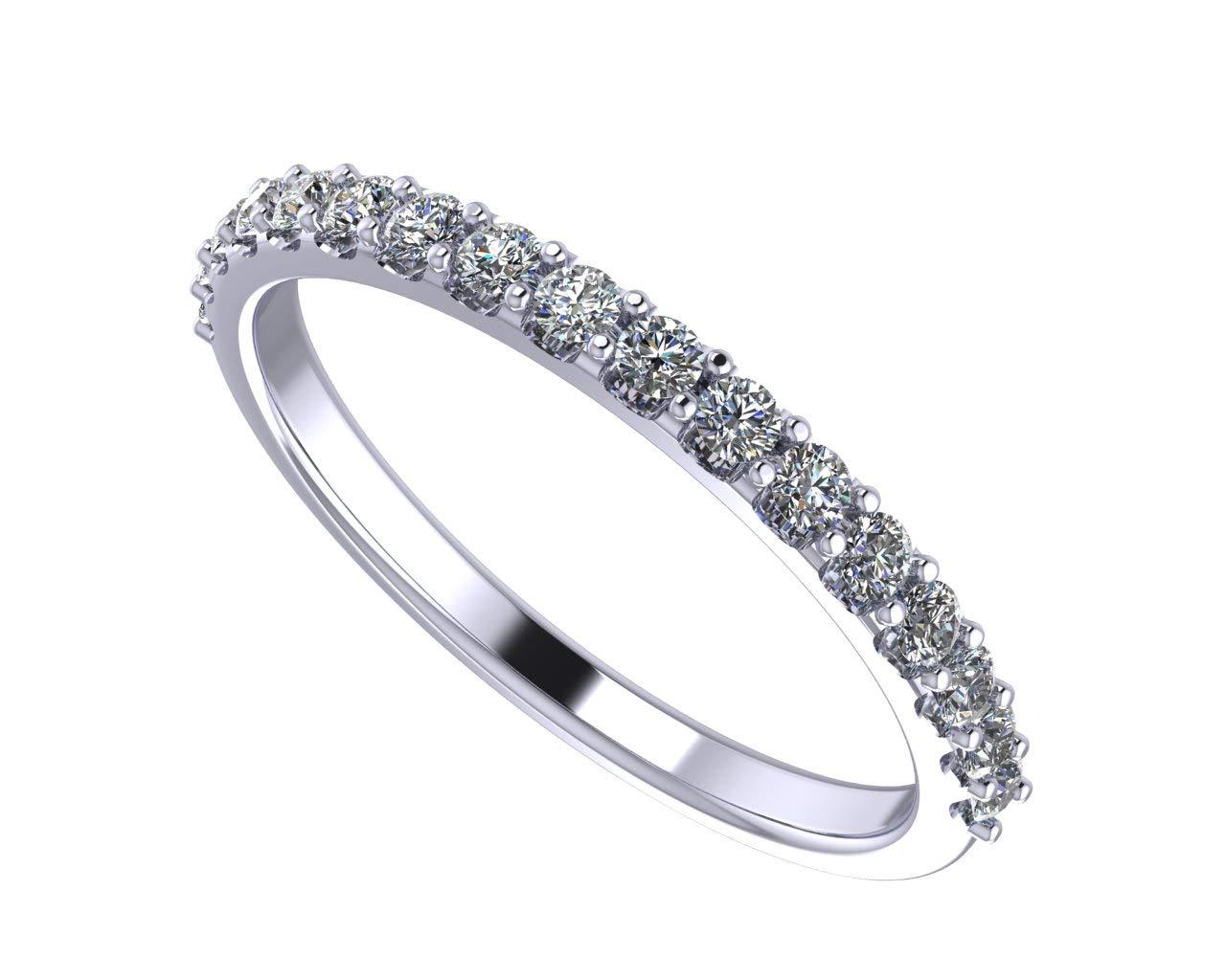 NaNa Sterling Silver & Swarovski Zirconia Wedding Band-Rhodium Plated-Size 10