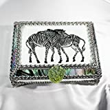Zebra, Africa, Equine Stained Glass Jewelry Box, Presentation Box, Keepsake Box, Glass Jewels, Swarovski Crystals, USA Made