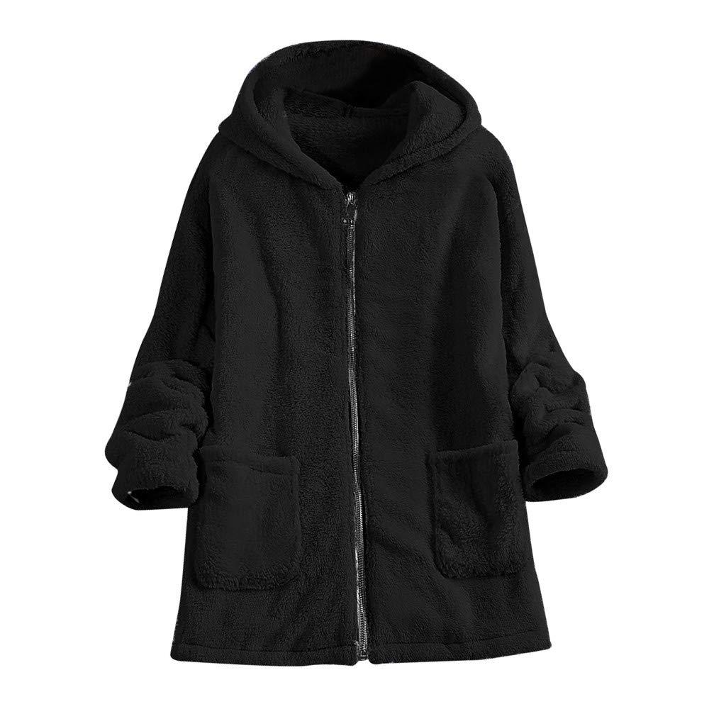 Luckycat Abrigo Esponjoso para Mujer Abrigo de Chaqueta de Invierno Chaqueta con Capucha de Bolsillo Outwear Outwear Jumper