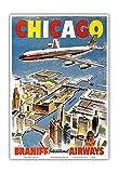Chicago - Braniff International Airways - Vintage Airline Travel Poster c.1950s - Master Art Print - 13in x 19in