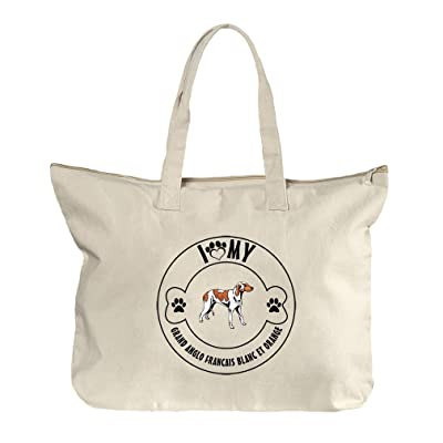 durable service Paw Grand Anglo Francais Blanc Orange  1 Canvas Beach  Zipper Tote Bag Tote 5c07482c3f383