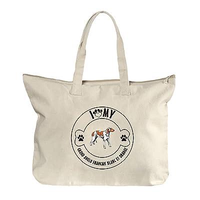 ffba3a19e4 durable service Paw Grand Anglo Francais Blanc Orange  1 Canvas Beach  Zipper Tote Bag Tote