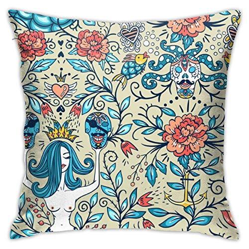 Eratdatd Customized with Vintage Roses, Beautiful Mermaids and Pirate Skulls 45 X 45 cm Pillow Cover, Sofa Bed Pillow Durable, Machine Wash Pillow Cover