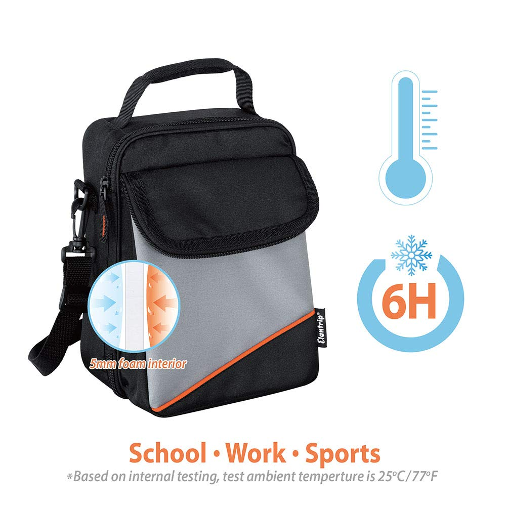 Elantrip Expandable Lunch Box with Ice Pack Dual Compartment Insulated Cooler Lunch Bag with Shoulder Strap for Kids Boys Men Women Adults Black and Gray 10 CAN
