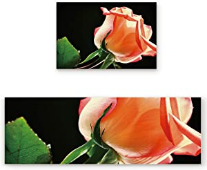2 Pieces Non-Slip Kitchen Mat Set with Rubber Backing Soft Durable Door Mat for Indoor Roses Floral Petals Closeup Resist Dirt Rugs for Entrance Doorway Abstract Black (15.7x23.6+15.7x47.2 inch)