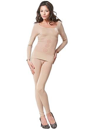 718ce1076 Franato Women s 2 Piece Tourmaline Top Bottom Long John Body Shaper Large  Beige