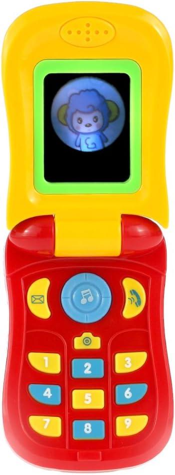 Goolsky Coolplay Móvile de Música Teléfono de Juguete Carcasa Flip Juguete Inteligencia Ilustracion con Luces y Un Espejo