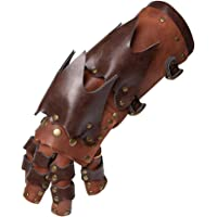 Abbraccia Steampunk Gothic Gloves Vintage Leather Half Finger Costume Wrist Arm Warmers - Brown, One Size