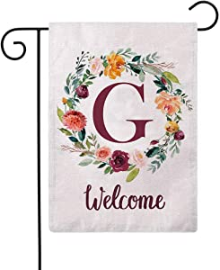 ULOVE LOVE YOURSELF Letter G Garden Flag with Flowers Wreath Double Sided Print Welcome Garden Flags Outdoor House Yard Flags 12.5 x 18 Inch
