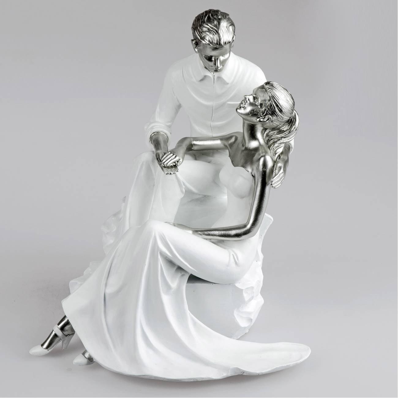 Formano Deko-Figur 'Paar sitzend', 28 cm, weiß-silber