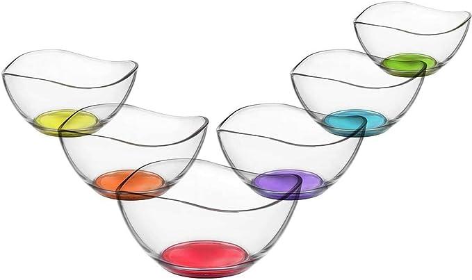 LAV - Vira - Juego de 6 cuencos de cristal - Para entrantes y postres - De color - 310 ml