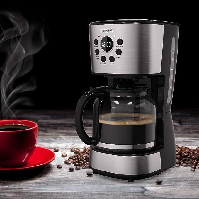 Homgeek Cafetera de filtro, cafetera programable 12 tazas con ...