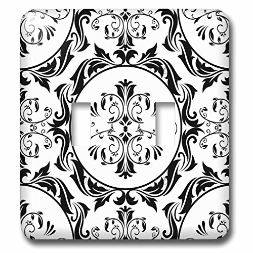 3dRose lsp_78410_2 Pretty Black and White Art Nouveau Pattern Double Toggle Switch Multicolor