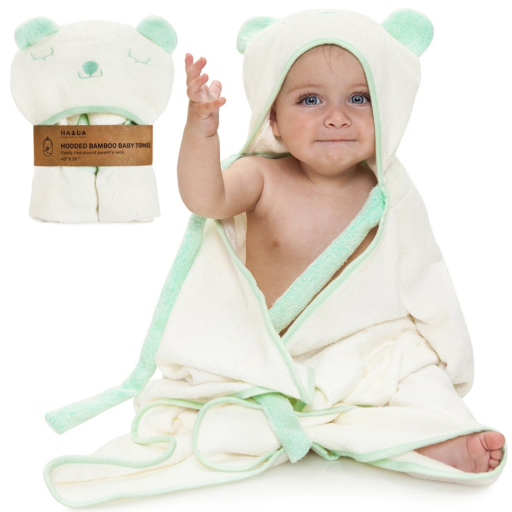 Premium Extra Soft Hooded Bamboo Baby Bath Towel and Washcloth, Organic Hypoallergenic Towels, Boys & Girls, Ties on Parent's Neck, With eBook, Sized from Infant to Toddler, Baby Shower Gift Set Ties on Parent's Neck