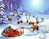 Best Value Advent Calendar Greeting Card for Christmas. Santa, Sleigh and Reindeer. Imported. Perfect Holiday Gift {jg} mom, dad, sister, brother, friend, gay,