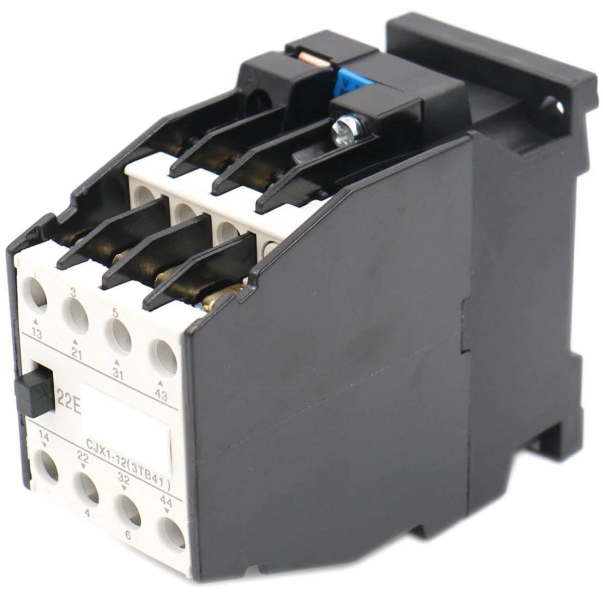 Heschen AC Contactor CJX1-12//22 220V 50//60Hz Bobina 3P 3 polos 2NO+2NC 380V 20A 5.5KW