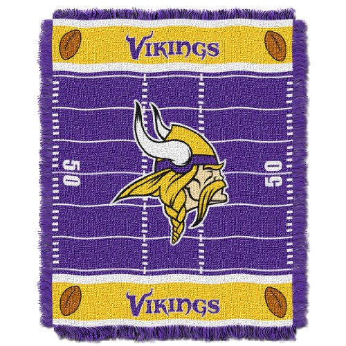 y Officially Licensed NFL Minnesota Vikings Field Bear Woven Jacquard Baby Throw Blanket, 36