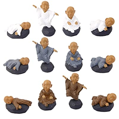 12x Miniatura Pvc Meditación Monk Micro Paisaje Decoración Casa De Muñecas Bonsai: Juguetes y juegos