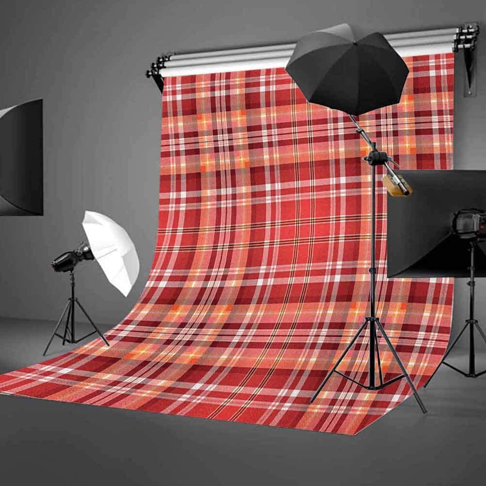 7x10 FT Checkered Vinyl Photography Background Backdrops,Red Pink Orange Checkered Pattern with White Lines Cells Graphic Background for Graduation Prom Dance Decor Photo Booth Studio Prop Banner