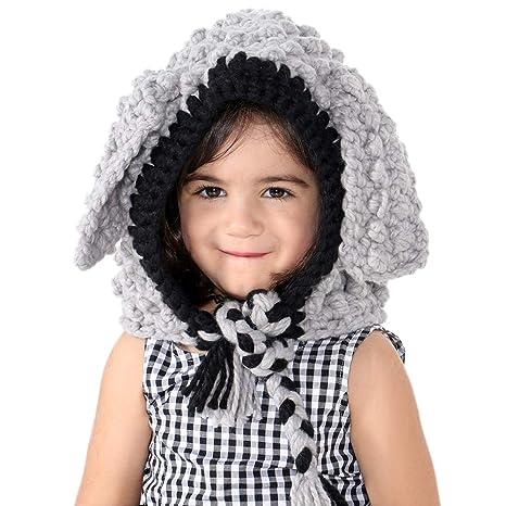 VAMEI Kids Cappello a Maglia con Cappuccio Cappuccio Sciarpa Cappelli  Inverno Caldo Cappelli Animali per Ragazze 73094938efb7