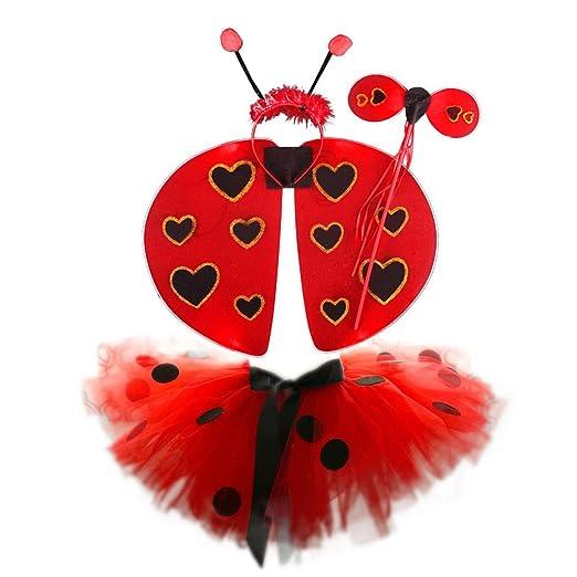 JOYKK 4 Piezas Niños Ladybug Cosplay Disfraz Set Polka Dot Tutu ...