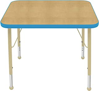 """product image for Creative Colors 24"""" x 36"""" Rectangular Activity Table with Maple Top, Bright Blue Edge, Ball Glide - Standard Leg Height: 21""""-30"""""""