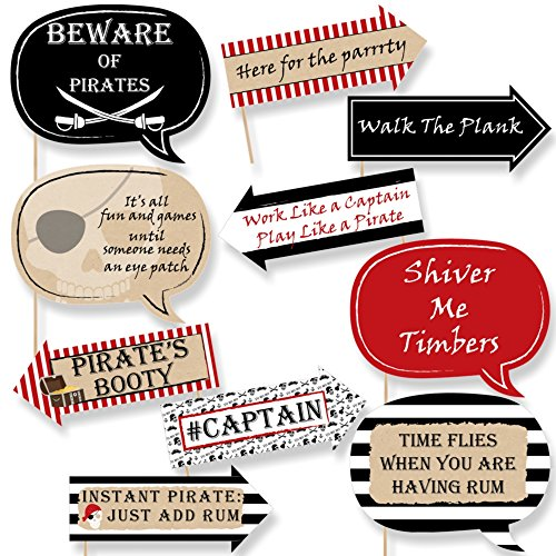 Funny Beware of Pirates - Pirate Birthday Party Photo Booth Props Kit - 10 Piece -