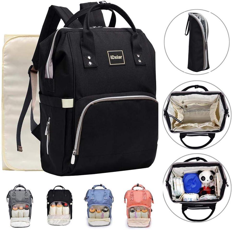 Baby Diaper Shoulder Nappy Changing Bag With Mat Travel Handbag Black