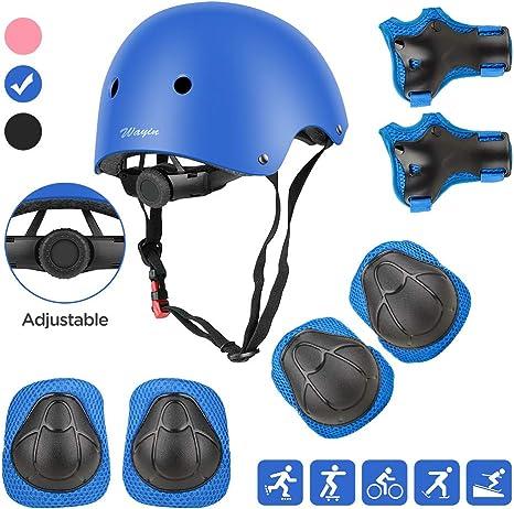 Wayin Casco Infantil, Protecciones Patines Niña Rodilleras y Cascos Ajustable Coderas para Patinar Bicicleta Monopatín (Azul): Amazon.es: Deportes y aire libre
