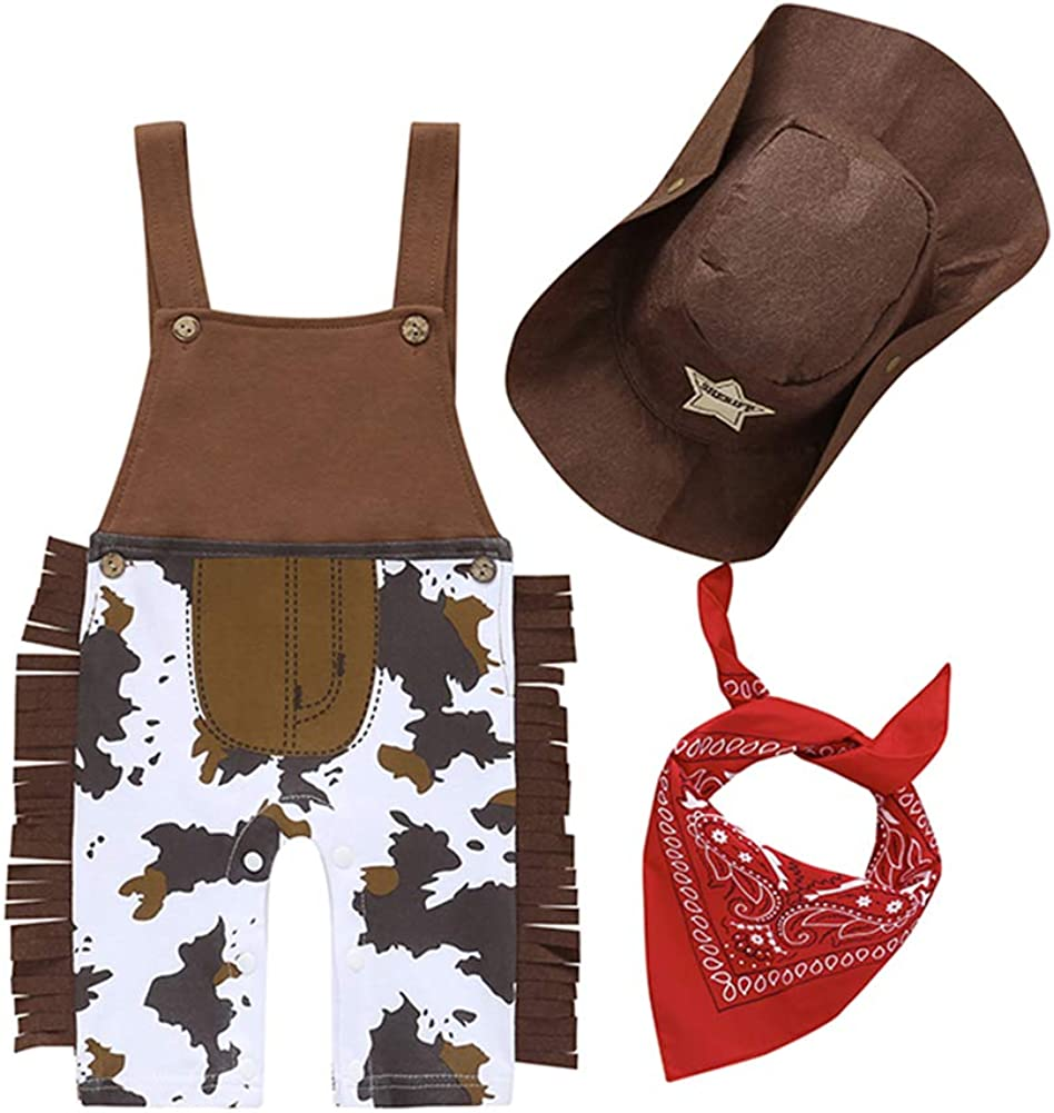 /Écharpe pour Carnaval Cosplay soir/ée Chapeau 3 Pi/èces Costume Cowboy Nouveau-n/é Toddler B/éb/é Gar/çon 0-24M Salopette