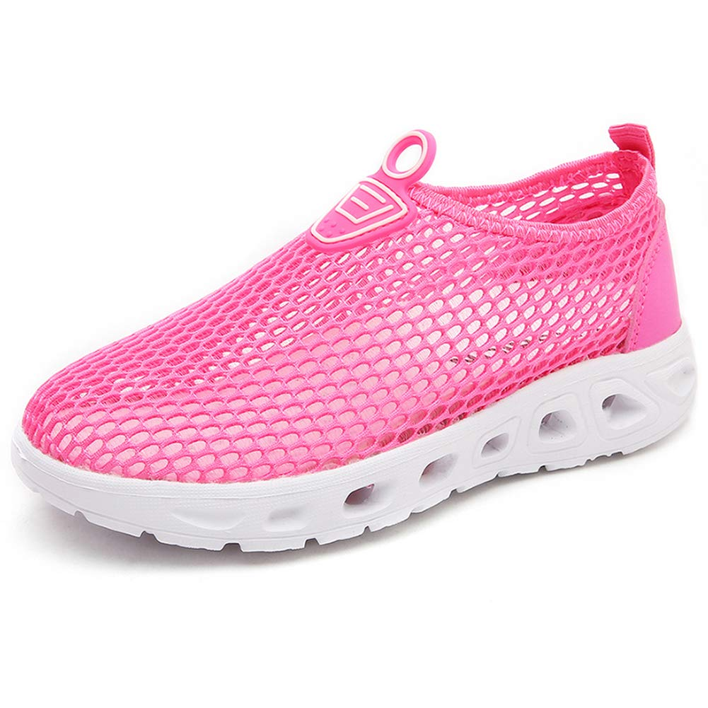 S-BAO Boy's Girl's Breathable Mesh Water Shoes Lightweight Slip-on Sneakers for Walking Sailing Beach-Hot Pink